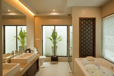 Master Bathroom with Terrace View